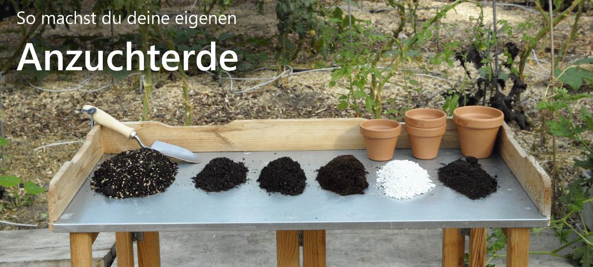 Mit Wurmkompost, Gartenkompost, Kokoserde und Perlit kannst du ganz einfach eine eigenen Anzuchterde mischen.